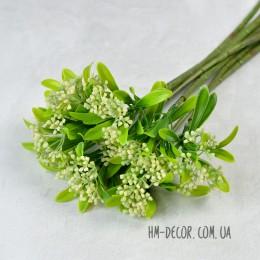 Ветка одинарная с белым соцветием 35 см