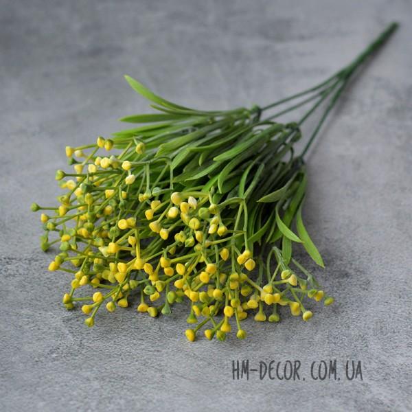 Куст с мелкими желтыми соцветиями 5 веток 35 см