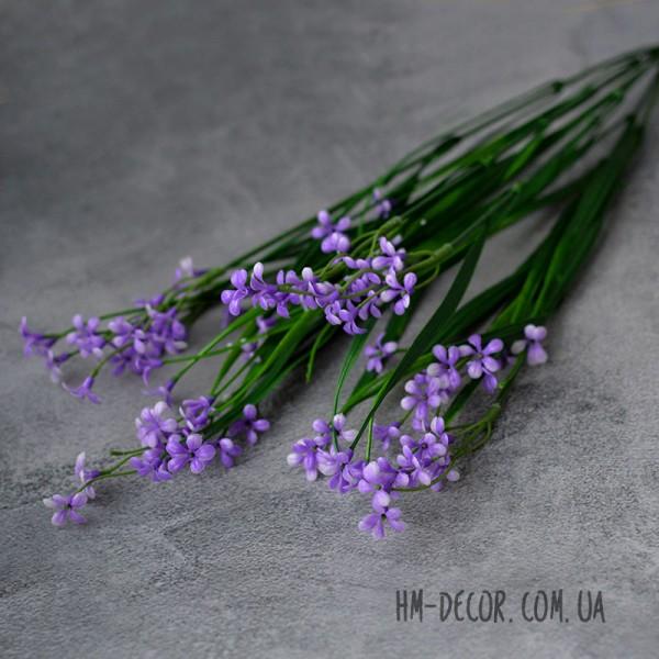 Осока с фиолетовыми цветочками 7 веток 45 см