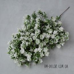 Ветка с мелкими листиками-суккулентами 002 бело-зеленая 30 см