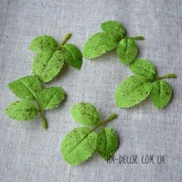 Лист розы салатовый тройной 8 см