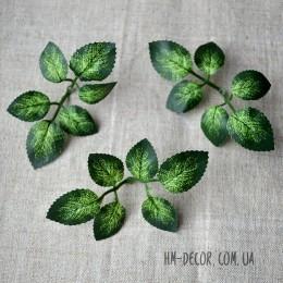 Лист розы зеленый 10 см