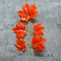 Ветка клена оранжевая 5 листьев 40 см