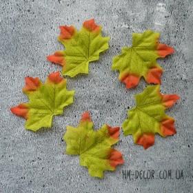 Лист клена зелено-оранжевый 7*8 см 5 шт.