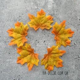 Лист клена желто-оранжевый 7*8 см 5 шт.