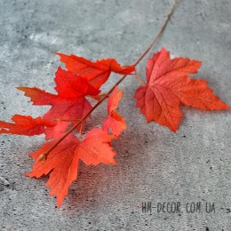 Ветка клена осенняя темно-оранжевая 35 см