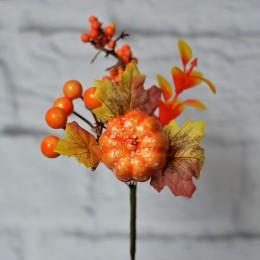 Ветка осенняя с тыквой и ягодами 17 см